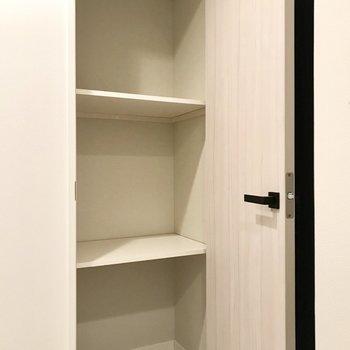 実は廊下にこの収納も。トイレットペーパーや生活用品のストックはここに収納しましょ。(※写真は2階の同間取り別部屋、モデルルームのものです)