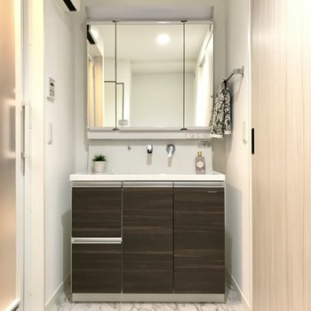 どっしりとした洗面台。3面鏡の裏には小物をなおしておこう。 (※写真の小物は見本です)