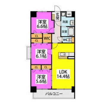 1フロアに2戸のみ。角部屋で、3面採光。