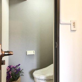 トイレの上にはピンクの可愛い棚。ここにストックを隠しておこう! (※写真の小物は見本です)