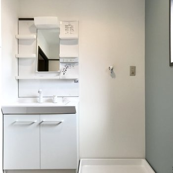 どっしりとした洗面台は家族で使っても問題なさそう! (※写真の小物は見本です)