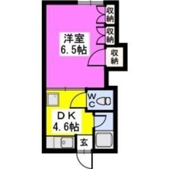 洋室とDKを合わせると11帖ほどの広々空間♬