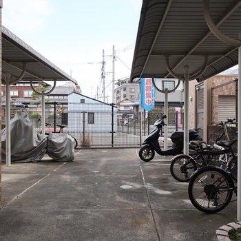 駐輪場も屋根付きなのが嬉しいなっ
