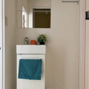 コンパクトで愛らしい洗面台。(※写真の小物は見本です)