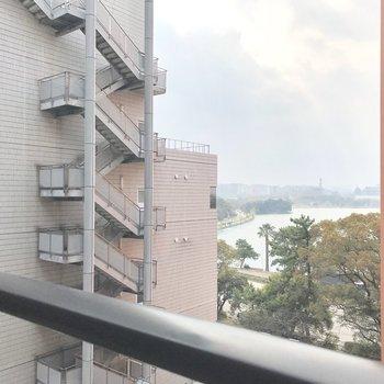 眺望は、向かいのお部屋とちらり大濠公園。