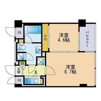 洋室は4.6帖。収納が引き戸だから大きなベッドも置きやすいかも。(※実際は反転間取りです)
