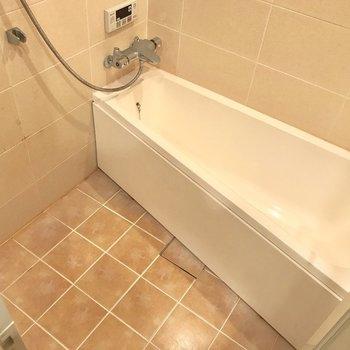 変わったカタチの浴槽。優雅にバスタイムを楽しみたい。(※写真は清掃前のものです)