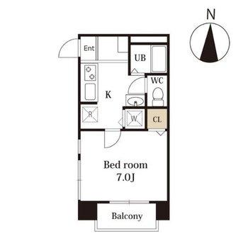 バルコニー付の1Kのお部屋。