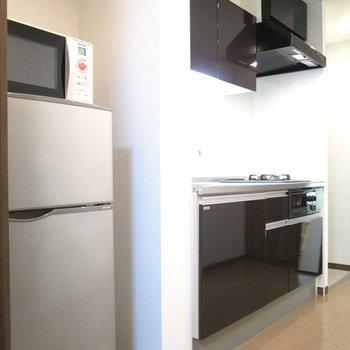 冷蔵庫とレンジもあるのは便利ですね〜