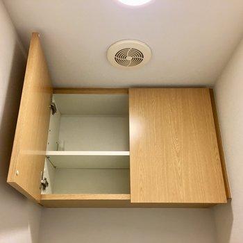 上部には扉付きの収納もあるからすっきりきれいに保てます。