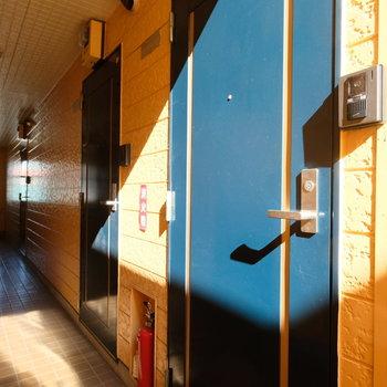 玄関前の共用部は黄色と青でgoodな配色