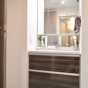 洗面台の鏡も大きくて見やすい。※写真の家具はサンプルです