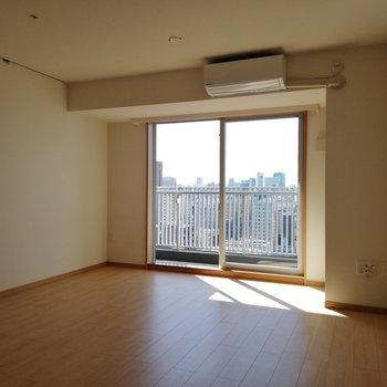 ピクチャーレールが左側についています※写真は16階の同間取り別部屋のものです