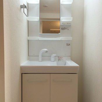 収納もたくさんある独立洗面台 ※写真は1階の似た間取り別部屋です。