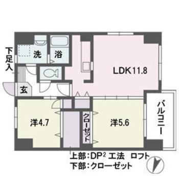 洋室2部屋は2人暮らしにぴったり!