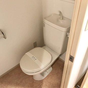 トイレはシンプルながらもストックを置くスペースあり◎