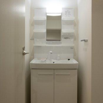 収納豊富な洗面台。