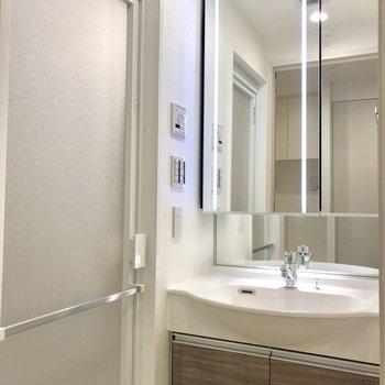 鏡が大きいので使い勝手が良い※写真は1階の反転間取り別部屋のものです