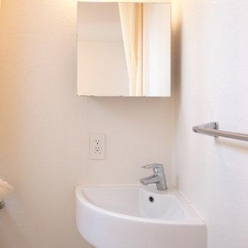 お風呂場と一緒に洗面所。トイレとの仕切りがカーテンなのが少し残念。※写真は前回募集時のものです