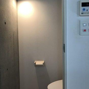 トイレにまでライト設置!照らされてて面白かったのでパシャリ※写真は2階の反転間取り別部屋のものです。