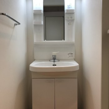 洗面台もしっかりと。収納も鏡も使いやすそう※写真は2階の反転間取り別部屋のものです。