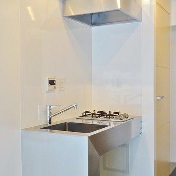 ステンレス製のキッチンがオシャレ。※写真は203号室のもの