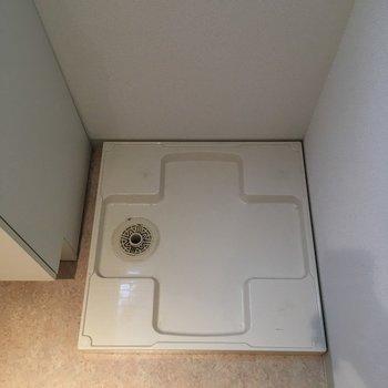 洗濯機は洗面台の横に