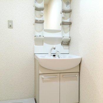 洗面台はファミリーサイズで、使いやすい。