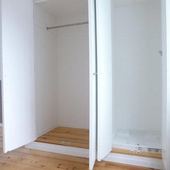 【洋室】収納が2つ。ハンガーパイプもあるから、ジャケットとかここにしまえそう。