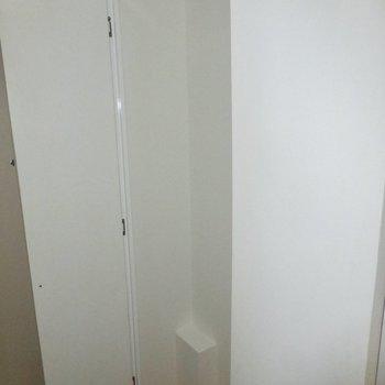 靴箱は棚が未設置です。※写真は通電前のものです。フラッシュを使用して撮影しています。