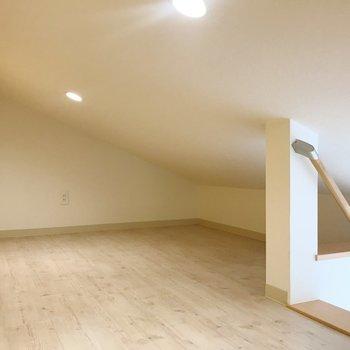 天井は斜めになっているので、頭をぶつけないようお気をつけを。