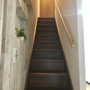 階段にまでこんなこだわりを うーん何を置こうかな