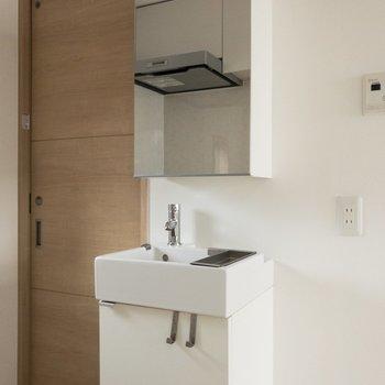 朝シャンのあと洗面台でババっと外出準備なんて流れができそう〜※写真は4階反転間取り別部屋のものです。