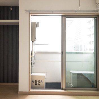 バルコニー横にはオープンクローゼットが。※写真は4階反転間取り別部屋のものです。