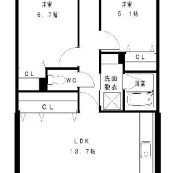 お部屋は2LDKタイプ。収納は各お部屋にあります。
