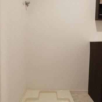 洗濯パンは脱衣所に。水回りはまとまっています。(※写真は1階の同間取り別部屋、工事中のものです。)