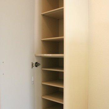シューズボックスは大き目の物が備わっています※写真は2階の同間取り別部屋のものです
