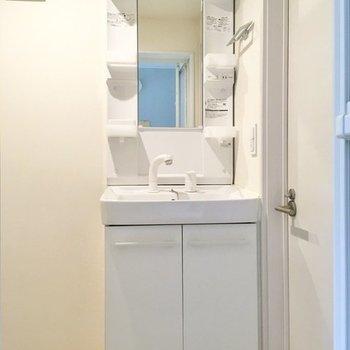 洗面台はスタンダードな型。化粧品などを左右のラックに置いておけます。