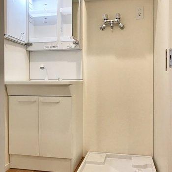 脱衣所には洗面台と洗濯機置き場が。
