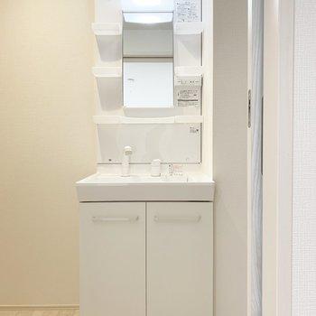 洗面台もまっしろで、清潔感があります。