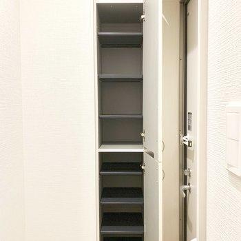 鏡ドアを開けると一面のシューズボックスが。