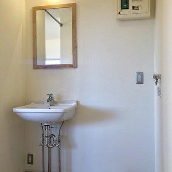 鏡の木の枠もステキ。