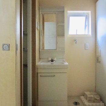 コンパクトですが洗面台もあります、洗濯機は横に置きましょう※写真は1階の似た間取り別部屋のものです(通電前)