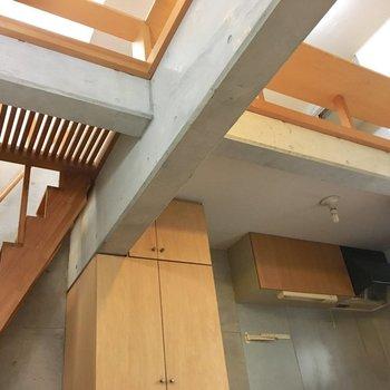 らせん階段上り、見上げが先に広がる世界がこちら(※写真は同間取り別部屋、清掃前のものです)