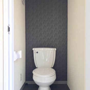 トイレはネイビーの壁と照明が絵になる(※写真は清掃前のものです)