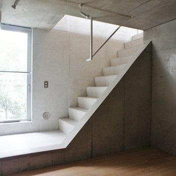 階段をつつみこむように、やさしい自然光。