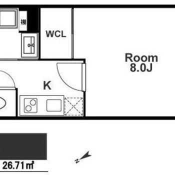 1Kのお部屋となります