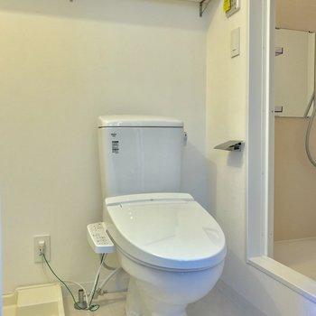 洗濯機置場の隣にはトイレ。ストックの棚があるのは嬉しいね ※写真は前回募集時のものです