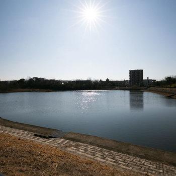 駅までは、大きな池のある戸笠公園を抜けていくとちょっと近道です。