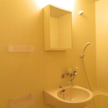 鏡の後ろに少しばかり収納が※写真は4階の同間取り別部屋のものです